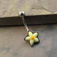 Yellow Daisy Flower Belly Button Ring