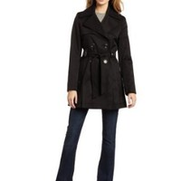 Via Spiga Women's Double Breasted Belted Spring Trench Coat With Pleated Back