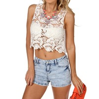 White Crochet Flyaway Crop Top