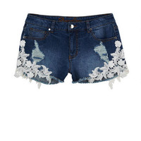 Bradley Mid-Rise Shorts with Lace Detail