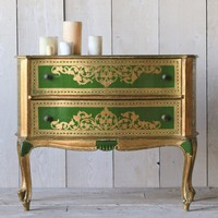 Beautiful Large Vintage Florentine Commode in Bright Gilt with Lime Green Finish