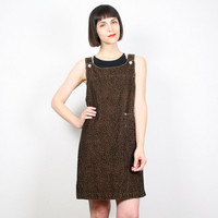 Vintage Overalls Dress Leopard Print Jumper Dress Mini Dress 90s Dress Grunge Dress 1990s Dress Brown Black Cheetah Shift Dress M Medium L
