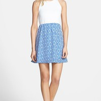 dee elle Textured Bodice Print Skirt Skater Dress (Juniors) | Nordstrom