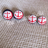 Drop Anchor Cover Button Earrings