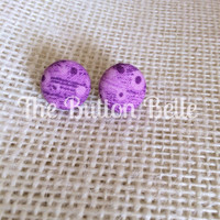 Plum Crazy Cover Button Earrings