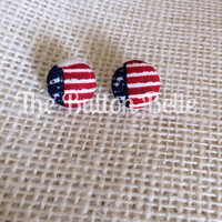 Born in the USA Cover Button Earrings
