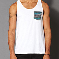 Tribal Print Pocket Tank White/Blue