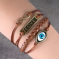 Fashion Leather Silver Heart Friendship Handmade Infinity Love Charm Bracelets