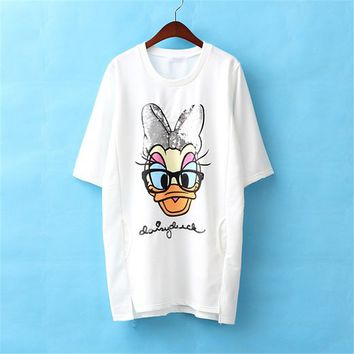 Cartoon Duck With Sequins Half Sleeve Loose Long Shirt For Women