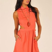 Orange Day Dress - Sleeveless Coral Cut Out Dress | UsTrendy