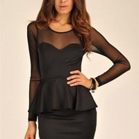 Black Mini Dress - Long Sleeve Peplum Mesh Mini | UsTrendy