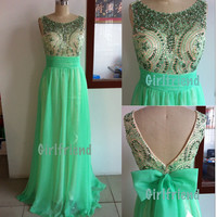Elegant Round Neck Handmade Sequins Green Chiffon Floor-length Homecoming Dress, Wedding Dress, Prom Dress With Bow