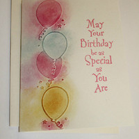 Ballon Birthday Card/Happy Birthday Wish / Colorful Balloons/Handmade