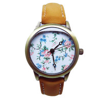 Vintage Flower Watch, Women's Brown Faux Leather Watch, Floral Watch