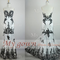 2014 Long Prom Dress,Strapless Black Lace Gown Rich Applique Prom Dress, Evening Dress,Wedding Dresses,Wedding Gown,Evening Gown,Party Dress