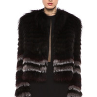 Silver Fox Fur Coat in Forest Multi