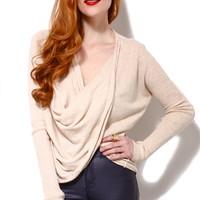 Angora Blend Twist Front Sweater in Oatmeal