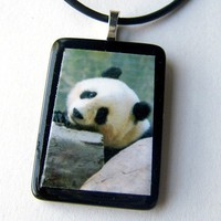recycled tile photo Pendant necklace PANDA LOVE | LDPhotography - Jewelry on ArtFire