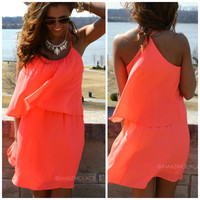 Noe Valley Neon Coral Tiered Tank Dress