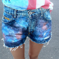 Galaxy shorts MADE TO ORDER by NerdyYouthDenim on Etsy