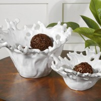 White Coral Decorative Bowls, Set of 2, 19616, Uttermost Furniture