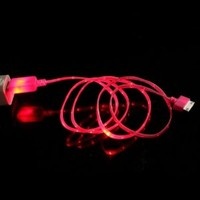 Mokingtop Fashion New Visible Color LED USB Sync Data Charger Cable for iPhone 4G 4S ipad 2 3 (Hot Pink)