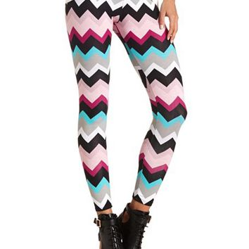 COTTON CHEVRON PRINTED LEGGINGS