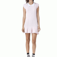Keep your style simple and sweet in this Dear Licit Knit Mini Dress by Unif Clothing! This super cute cap sleeve cableknit mini-length dress, pattern detailing, contrast with woven white color Peter Pan collar, a-line cut.