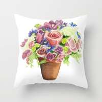 Pastel Flowers Throw Pillow by ArtBySB | Society6