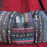 Indian handmade Neon Rajasthani Tribal Tapestry Vegan Duffle Bag Gym Bag Luggage Suitcase Travel Bag Weekender Carry-On Bag multicolored