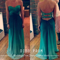 Custom Made Ombre Prom Dress,Sexy Prom Dress,Chiffon Prom Dresses,Backless Prom Dresses,Strapless Prom Dresses,Dresses For Prom,Green Prom