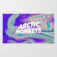 Psychedelic Arctic Monkeys Logo Area & Throw Rug by Julia