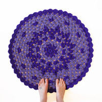 Round Crochet Mandala Rug - One of a Kind Purple Rug Mat with Scallop Edge