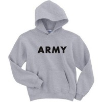 Youth ARMY Hooded Sweatshirt - Military Style Physical Training Sweatshirt in Gray