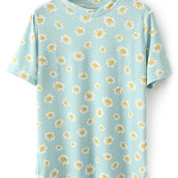 ROMWE Daisy Print Short Sleeves Light-blue T-shirt