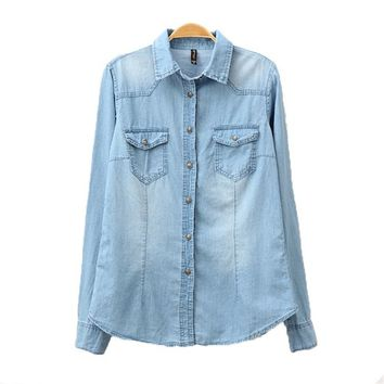 Brief style Washed Denim Long Blouse Shirt