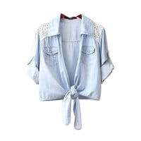 Lace Shoulder Lace-up Short Denim Shirt Tops For Women