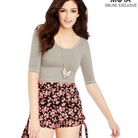 Floral High-Waisted Side-Tie Shorts