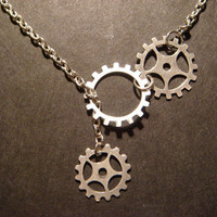 Steampunk Gear and Cog Lariat Style Necklace in by CreepyCreationz