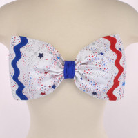 New Padded Thinner USA Flag America Stars Bow Rick Rack Patriotic Red White Blue Glitter Bandeau Women's Fashion Top Handmade