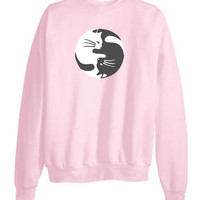 Tumblr Transparent Cat Ying-Yang Sweatshirts
