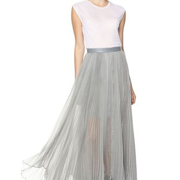 alice + olivia | AVA HIGH WAIST LEATHER WAISTBAND PLEAT MAXI SKIRT