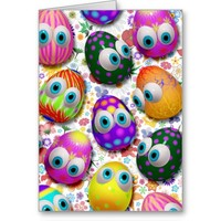 Cute Easter Eggs Cartoon Greeting_Cards