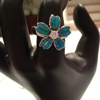 Blue Opal Ring Sterling Silver Fire Size 7.5 CZ Cubic Zirconia Flower Floral Daisy Vintage New Jewelry Bridal Birthday Wedding Promise Gift