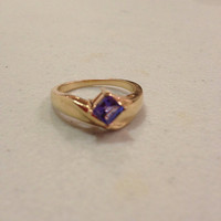 14K Iolite Ring Size 7 Gold Purple Stone 3.8 Grams Vintage Handmade Jewelry Princess Cut 14KT Engagement Cocktail Wedding Promise Gift OOAK