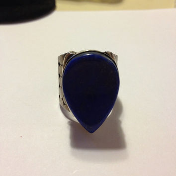Lapis Sterling Ring Size 7 Silver 925 Huge Blue Gold Stone Vintage Jewelry Handmade Artisan OOAK 60s 50s Southwestern Modernist Art Deco