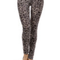 Carrie's Closet - black and gray floral leggings roses