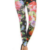 Carrie's Closet - Black Floral Footless Tights -- SHEER