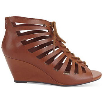 Material Girl Harley Lace Up Wedge Sandals