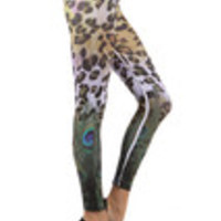 Carrie's Closet - Leopard and Peacock Footless Tights -- SHEER